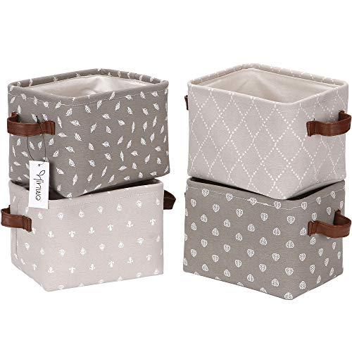 Hinwo 4L Mini Size Kindergarten Aufbewahrungskorb Faltbarer quadratischer Denim Stoff Aufbewahrungsbox Container Organizer mit PU-Ledergriffen für Regale und Schreibtische, 7,9 x 6,3 x 5,5 Zoll,Grau