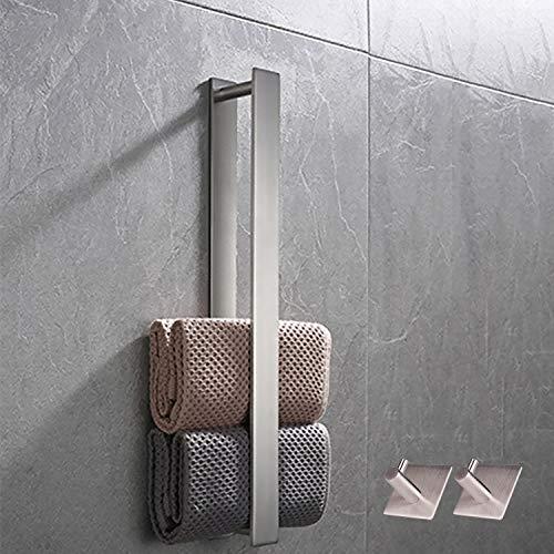 Toallero de acero inoxidable, sin agujeros, autoadhesivo, 40 cm, metal cepillado