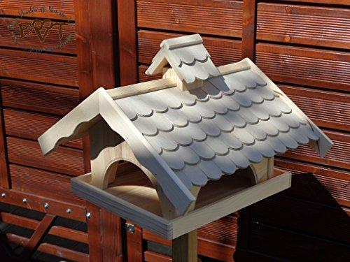 vogelhaus mit ständer,groß,mit Nistkasten + BEL-X-VONI5-MS-grau002 Robustes, stabiles wetterfestes PREMIUM Vogelhaus VOGELFUTTERHAUS + Nistkasten 100% KOMBI MIT NISTHILFE für Vögel KOMPLETT mit Ständer wetterfest lasiert, FUTTERHAUS für Vögel, WINTERFEST – MIT FUTTERSCHACHT Futtervorrat, Vogelfutter-Station Farbe grau hellgrau lichtgrau taupe / natur NEU, MIT TIEFEM WETTERSCHUTZ-DACH für trockenes Futter, Schreinerarbeit aus Vollholz - 2