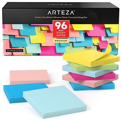 Arteza Notas adhesivas 76 mm x 76 mm | 96 tacos de 100 hojas | Paquete de posits de colores surtidos | Reutilizables sin dejar marca | para la oficina y el hogar