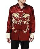 BTRC Mens Oriental Tai Chi Kung Fu Asian Chinese Top Jacket Coat (USA XL - Tag says XXXL, Red)