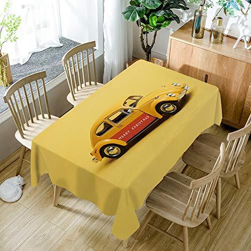 QHDHGR Manteles Mesa Impresión 3D Mantel Coche Amarillo Impermeable Antimanchas Lavable Poliéster Manteles para Cocina o Salón Comedor Decoración Tamaño:140cm x 240cm