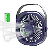 Ventilador USB, FoacMbem Mini Ventilador USB Ventilador de Mesa Silencioso, 3 Velocidades 360° Rotación Recargable Ventilador, Personal Portátil Ventilador PC para Oficina/Hogar/Viajar