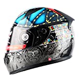 EDW Casco Protector de Motocicleta Full Face Racing Chopper Scooter Bobber Moto ATV Touring Hard Hat con Doble Visera Collar cálido, Compatible con Bluetooth (no Incluido),Pattern1,XL(59~60cm)