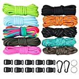550 Paracord Bracelet Crafting Kit with Buckles and Carabiner, Multicolor Survival Paracord Cord Set 10 Colors - Great Gift