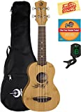 Luna Uke Bamboo Soprano Ukulele Bundle with Gig Bag, Tuner, Austin Bazaar Instructional DVD, and Polishing Cloth