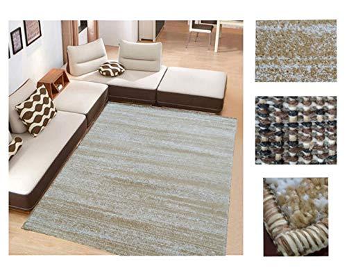 Comercial Candela Alfombra de Salón Frise Pelo Largo Tupido Moderno Jaspeado Color (Beige, 184_x_260 CM)