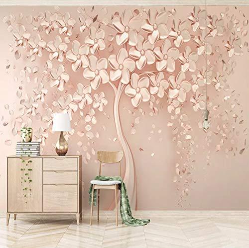 Wanddoek Elegante Luxe Rose Gouden Boom Fotobehang Woonkamer Slaapbank Wanddecoratie 3D muurschildering 300cmx210cm