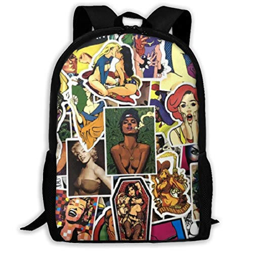 H.X Shop Sexy Hot Girl Anime Graffiti Sticker Comic Fashion Adult Backpack College Schoolbag Travel Backpack Sports Backpacks For Man Women Bags Outdoor Backpacks