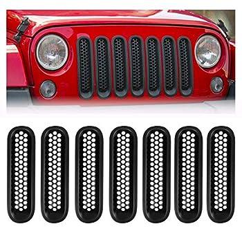 Spurtar Front Grill Mesh Inserts Clip-in for Jeep JK Wrangler & Unlimited 2007-2017 Grille Guard Matte Black  7PCS