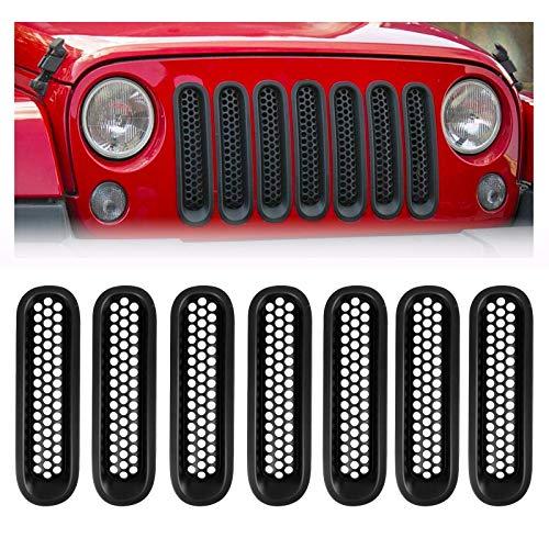 Spurtar Front Grill Mesh Inserts Clip-in for Jeep JK Wrangler & Unlimited 2007-2017 Grille Guard Matte Black (7PCS)