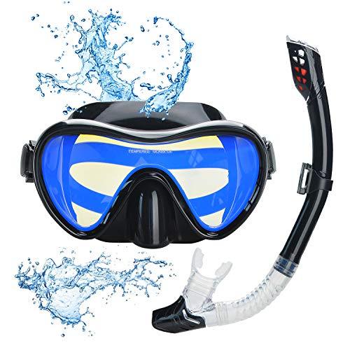Lychee Snorkel Set,Gafas de Buceo para Adultos y Jóvenes-Máscara de Esnórquel con Máscara Antivaho de Vidrio Templado y Snorkel Seco,Vista Panorámica 180°Máscara de Esnórquel Fácil