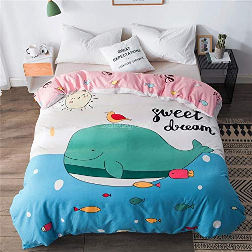 Fadaseo Duvet Covers Set King 3D Printing Cute Simple Animal Whale 3 Pieces Bedding Set. Easy Care And Super Soft Cotton Design.With 2 Pillowcases Hypoallergenic. Size 240 X 220 Cm