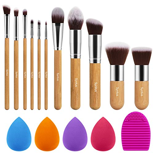 Syntus Makeup Brush Set 11 Makeup Brushes amp 4 Blender Sponges amp 1 Brush Cleaner Premium Synthetic Foundation Powder Kabuki Blush Concealer Eye Shadow Makeup Brush Kit Bamboo