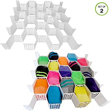 Evelots Set of 2 Honeycomb Organizer, Drawer Divider, Plastic, White, 56 Slots Total Inter-conectable