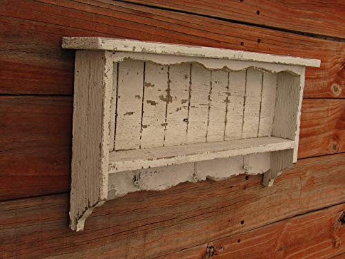 White Distressed Wall shelf, key hook, decor, french country, Old looking, Farmhouse Furniture Texas, off White