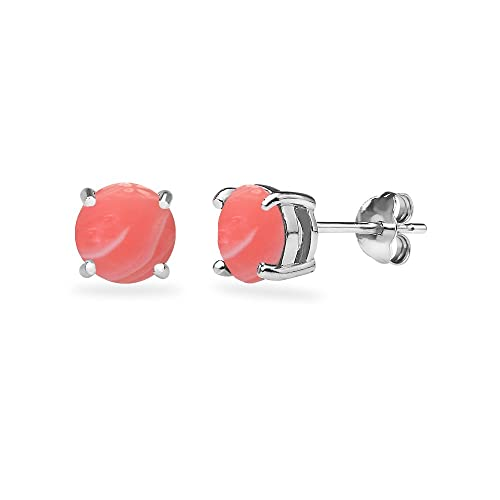 f5d33cf37 Sterling Silver Cabochon Stone Round 6mm Prong-set Stud Earrings for Women  Teens Girls