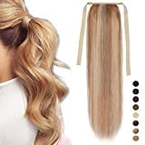 16'(40cm) coleta postiza larga pelo natural clip lisa #18/613 rubio ceniza/blanqueador rubio extensiones de cabello humano 100% remy ponytail extension (80g)