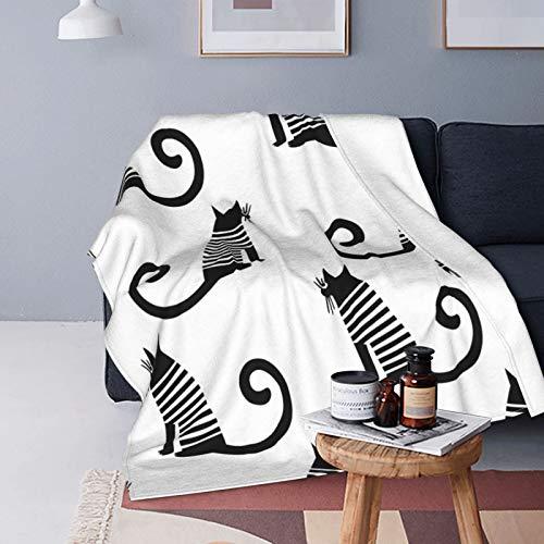 Stock Vector Francia Estilo Gato sin costuras, patrón negro y blanco adulto de plumón de cordero mantas de microfibra mullida para cuatro estaciones para adolescentes es adecuado para cama o sofá