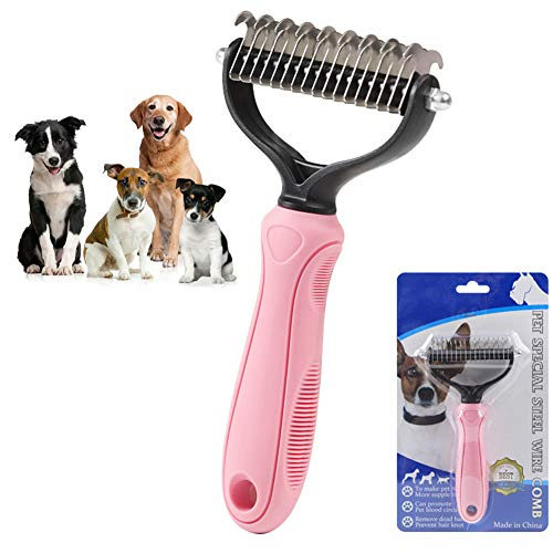Pet Grooming Brush Shedding Tools, Pet Grooming Brush Double Sided Shedding and Dematting Undercoat Rake Comb for Dogs and Cats