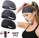 3Stück Frauen Sport haarband Stirnband Anti Rutsch elastische Sport Stirnband Sport Wicking Stirnband kommt mit Cross Design Frauen Schweißband absorbierende Feuchtigkeit für Yoga, Reiten, Basketball