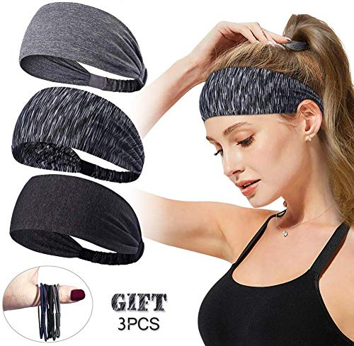 LKCELL 4Stück Haarband Damen Workout Stirnbänder Yoga Haarband Stirnband Damen Herren Haarband schwarz Haarband Damen Sport Anti rutsch Workout Stirnbänder