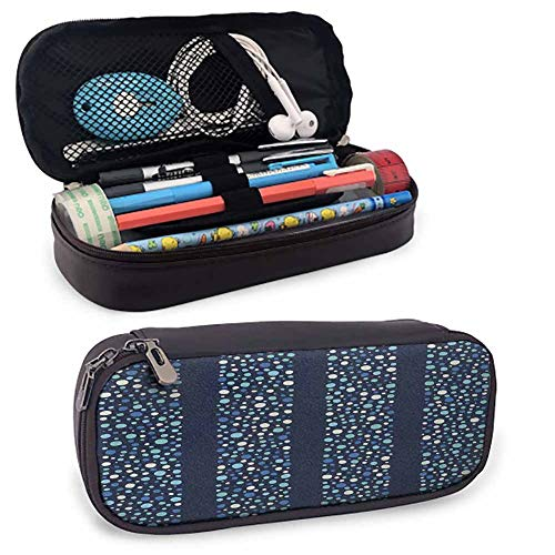 Abstract Cosmetic Bag Little Dots Circles in Different Shades on Striped Bands Stylish Display Junior High School, High School, College Pencil Case W3.5xL7.9 Indigo Violet Blue