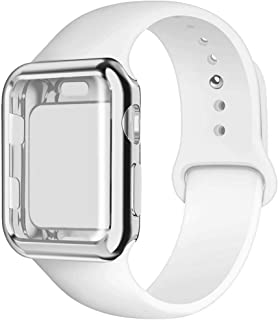YC YANCH Compatible for Apple Watch Band with Screen Protector Case 38mm 40mm 42mm 44mm, Silicone Sport Strap Replacement Wristband with Apple Watch Case Compatible with iWatch Series 1/2/3/4