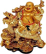 VIRSAA Feng Shui Laughing Buddha Sitting On Dragon Blessing Good Luck Decorative Showpiece for Good Fortune, Success & Prosperity - 8 cm
