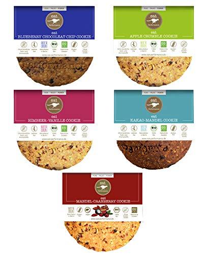 eat Performance® Mixed Cookie Box (5x 40g) - Bio, Paleo, Glutenfrei, Ohne Milch, Kekse Aus 100% Natürliche Zutaten