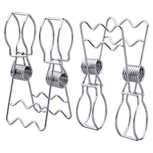コモライフ ステンレス製の竿止めクリップ 2個組 二股 約幅8×全長13.5cm 竿ピンチ ストッパー 落下防止 洗濯ばさみ