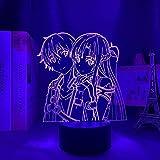 Anime Sword Art Online Imagen 3D ilusión luz de noche luz de estado de ánimo para niños Control remoto de 7 colores y botón táctil luz de regalo de vacaciones