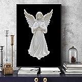 wZUN Póster de Estatua de ángel en Blanco y Negro, Escultura de niña, Pintura en Lienzo, Imagen Mural, Sala de Estar, decoración del Dormitorio 60X90 Sin Marco