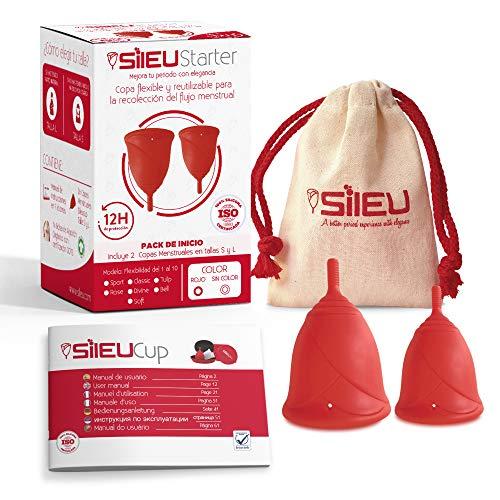 Coupe Menstruelle Sileu Cup Rose - Hypoalergenique silicone médicale avec bons avis de gyneco - S'adapte aux parois vaginales sans fuites - Facile à mettre et enlever - Taille S + L, Rouge