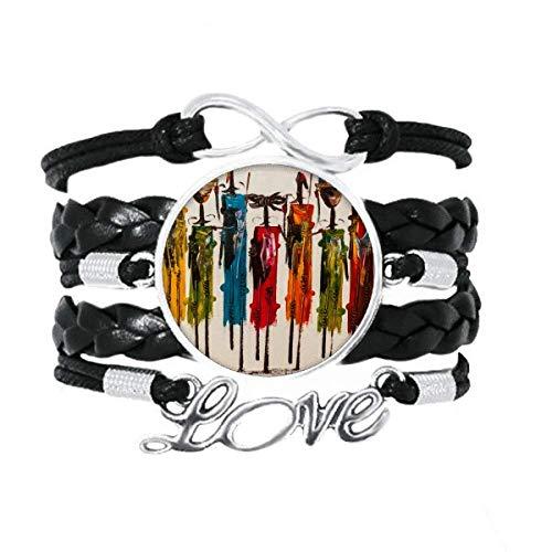 DIYthinker Abstracto Arte primitivo Africano Aboriginal Black Warrior Pulsera de Amor Adorno de Cuero Torcido Hilo de muñeca