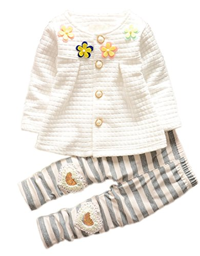 DaDa Deal Baby Girls' Toddler Kids Clothes Shirt Top Leggings Pants Outfits(L,White), 2-3T