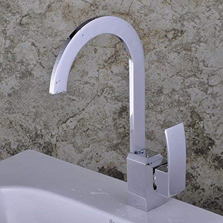 Oudan Küchenarmaturen Waschtisch-Mischbatterie Messing-Chrom-Spüle Wasserhahn Spüle Wasserhahn mit drehbarem Auslauf robuste Spüle Wasserhahn (Farbe   -, Gre   -)