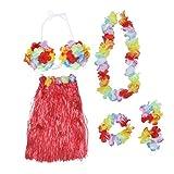 BESTOYARD Hawaiian Luau Flower Lei Hawaiian Luau Grass Hula Skirt Dress Bra Flower Bracelets Headband Necklace Set