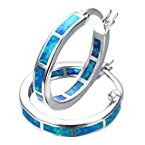 RongXing Orecchini ad anello in argento Sterling 925, opali bianchi o azzurri e zirconi e base placcata in oro, colore: Blue Opal(No diamonds), cod. RX0605a