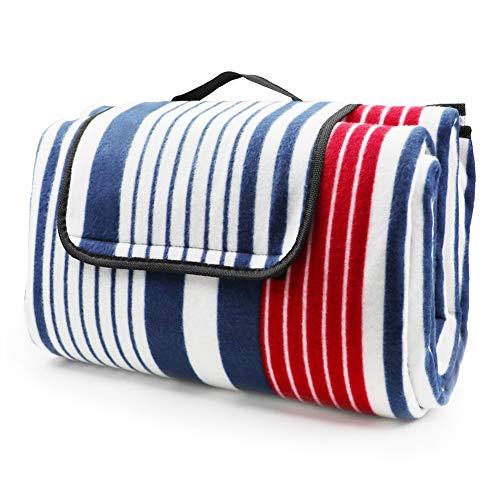 LIVEHITOP Picknickdecke Wasserdicht Große Verdickt - 200x200 cm Stranddecke Kompakt Vlies für Camping Draussen Sommer, Rot Blau Streifen