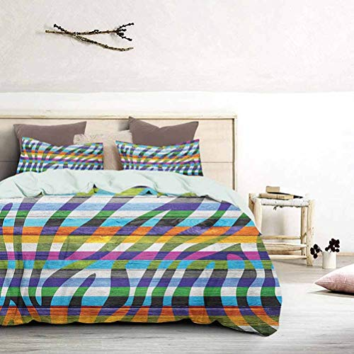 Bedspread Coverlet Set Colored Zebra Print Wood Planks Rustic Country Artistic Design Illustration Print Bedding Set No Peculiar Smell, Environmental Friendly Fabric Green Fuchsia, King Size