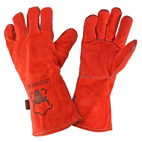 Leatherbull Hitzefeste Kaminhandschuhe Grillhandschuhe Backhandschuhe - Rot |Super zum Grillen Schweißen Backen hitzebeständig | Version Duty Größe XL | Handschuhe aus echtem Leder