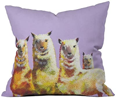 DENY Designs Clara Nilles Lemon Lamas on Lavender Throw Pillow, 26 by 26 Inch