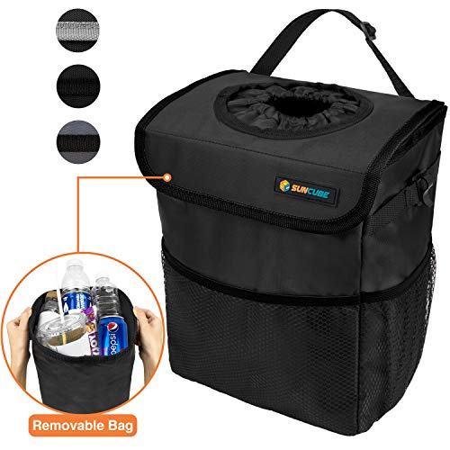 SUN CUBE Car Trash Can Waterproof with Lid and Removable Liner   Portable Hanging Trash Bin for Headrest, Console, Back Seat   Garbage Basket Organizer Car Accessories for Van, SUV, Truck (Black)