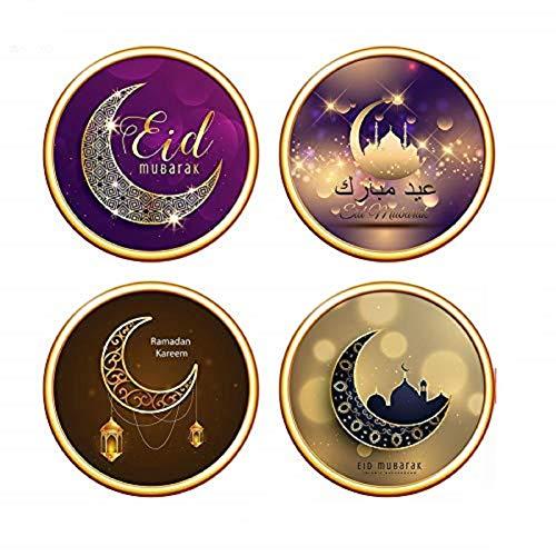 Kitabetty - 4 piezas/juego 3D pintura decorativa luminosa resistente al agua salón dormitorio decoración para Eid Mubarak Eid Al-Fitr Ramadan Kareem Muslim pared adhesivo