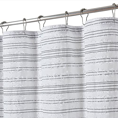 DOSLY IDÉES Cotton Black Striped Shower Curtain for Bathroom,Shabby Chic ,Country,Farmhouse,Rustic Style,72x72 in