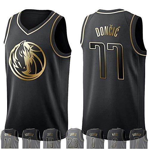 WOLFIRE WF Camiseta de Baloncesto para Hombre, NBA, Golden Edition. Antetokounmpo James Leonard Westbrook Lillard Wade Jokic Russell George Doncic Harden Curry. Bordado, Swingman (Doncic, S)