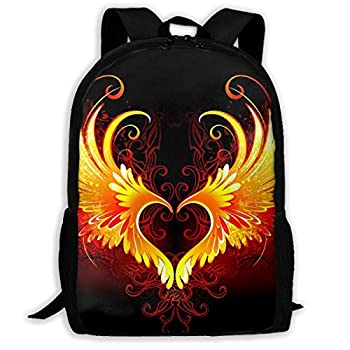 SARA NELL School Backpack Angel Fire Heart With Wings Bookbag Casual Travel Bag For Teen Boys Girls