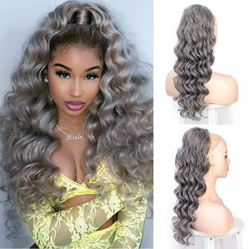 """Long Wavy Ponytail Extension Grey Drawstring Ponytail Heat Resistant Curly Wavy Synthetic Wrap Around Ponytail Gray Hairpiece For Women 24"""" ( Silver Gray )"""
