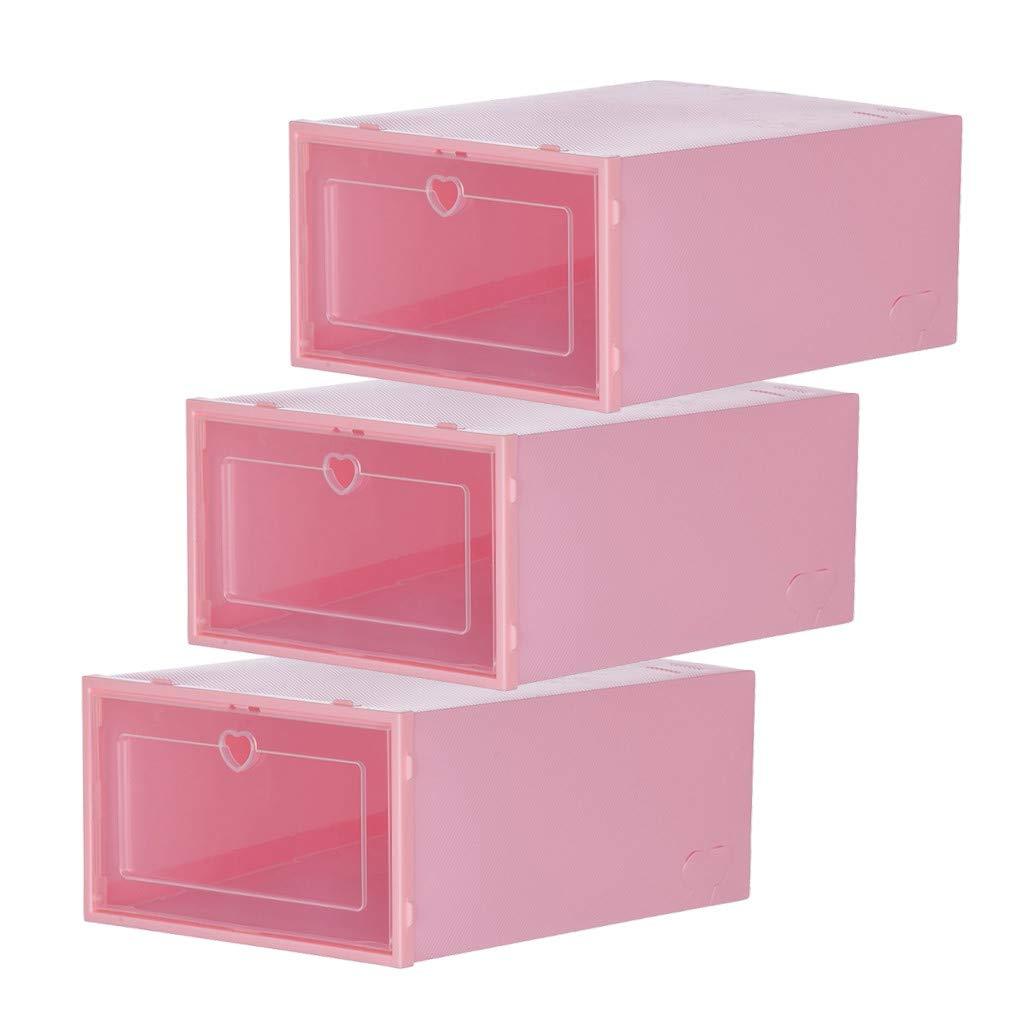 Smony – Caja de zapatos apilable para el hogar y la cocina, 8 unidades, caja organizadora de zapatos de plástico transparente, para mujeres, hombres, apilable, plegable y transparente, plástico, Rosa, Large: Amazon.es:
